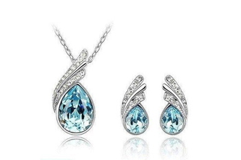 18K White Gold Plated Necklace/Earrings, Crystal Sea Blue Set  - $20 with FREE Shipping!